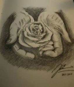 open palms rose sketch