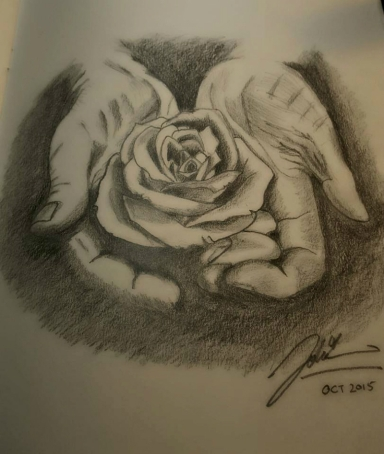 open palms rose sketch