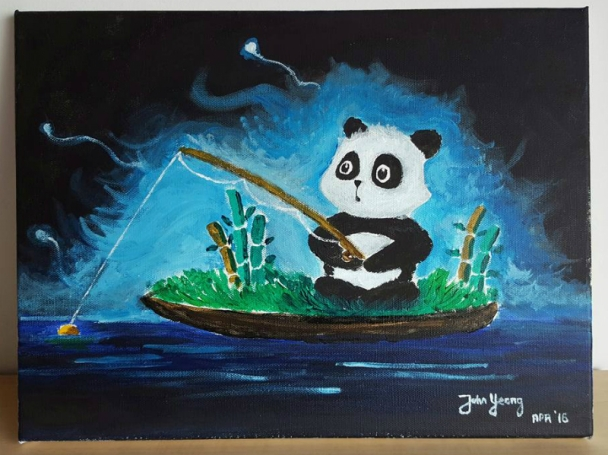 Panda goes fishing