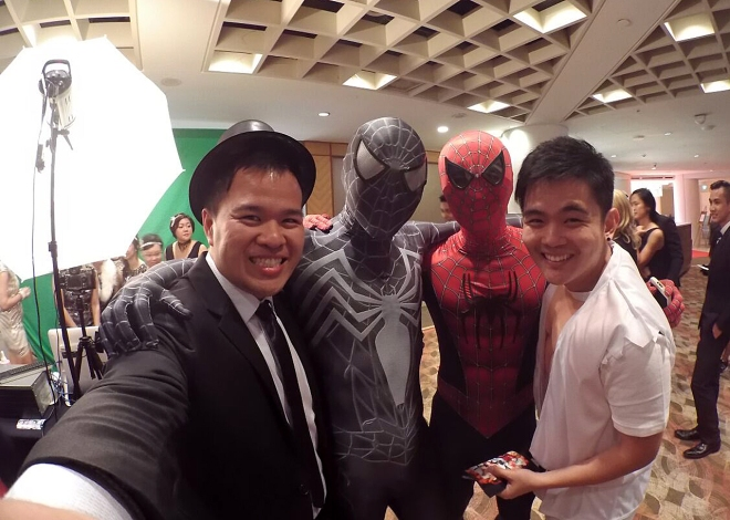 Spider-Men with our buds Raymond and Ryan! Looking cool, boys.